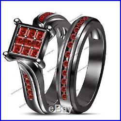 Women's SPL 1.3CT Garnet Black Gold Over Pure 925 Silver Wedding Bridal Ring Set