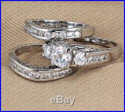Womens Engagement Ring and Wedding Band Trio Ring Set in Pure 10K White Gold