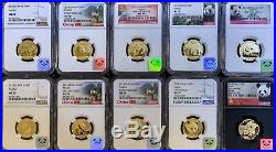 X10 1/4oz Gold Panda from 2010-2019 PERFECT G100Y MS70 NGC SET! 2.5oz Total Au