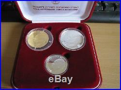 YITZHAK RABIN 31 Gr PURE GOLD & 2 SILVER COINS SET +ORIGIN BOX +COA ISRAEL 1996